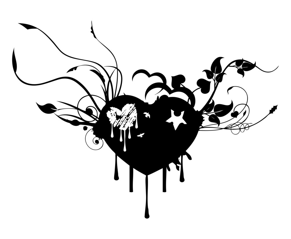 Flourish Grunge Heart Graphic Design