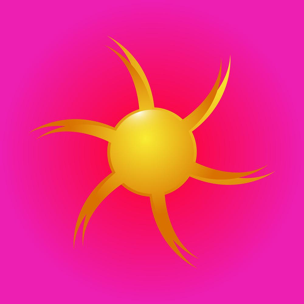 Flourish Sun Vector Icon
