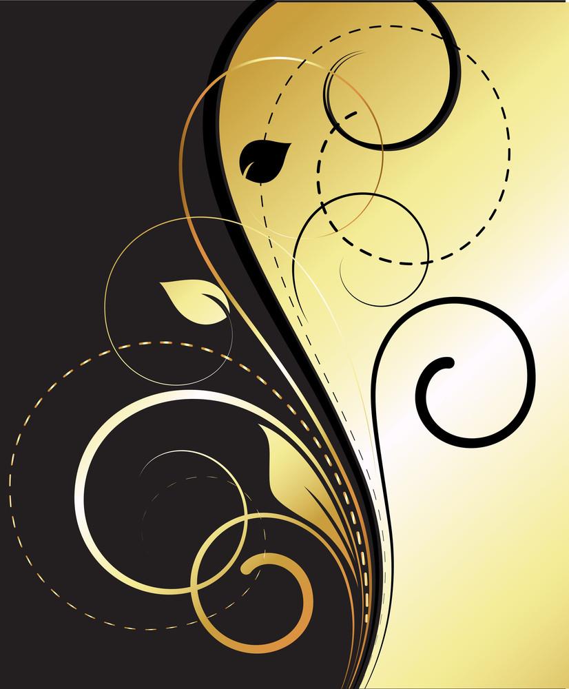Flourish Swirls Golden Vector Background