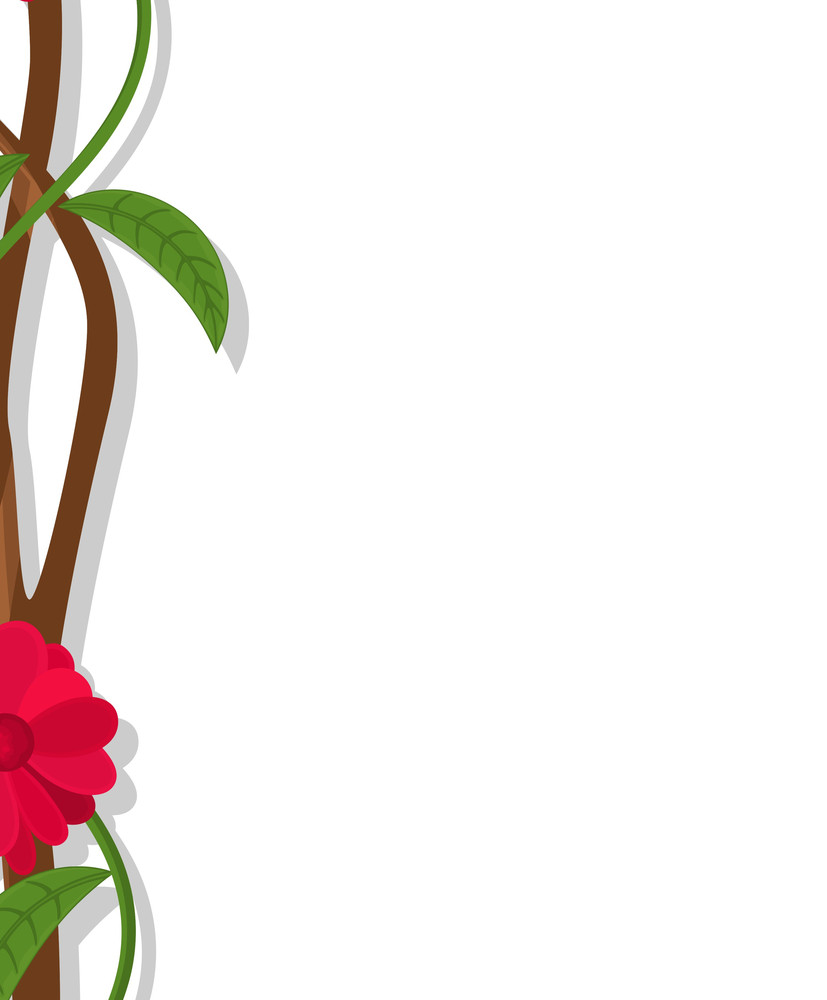 Flower Branch Vector Banner