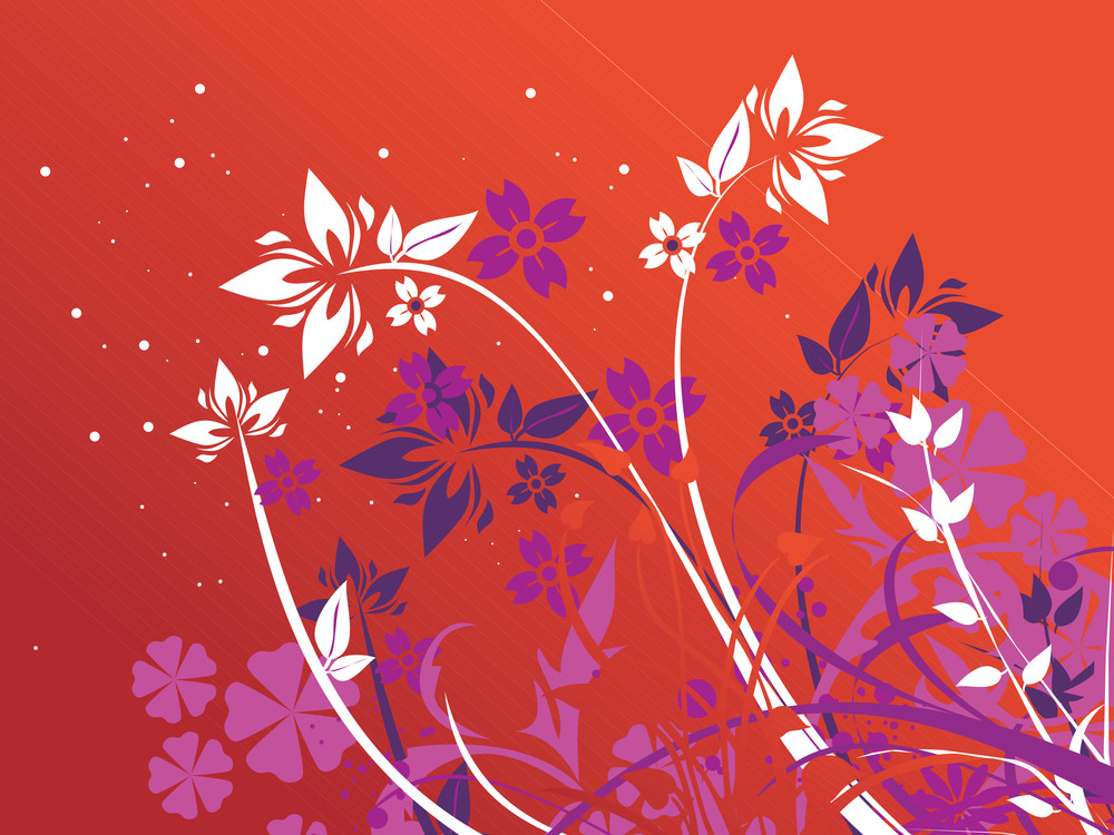 Flower Pattern With Orange Background