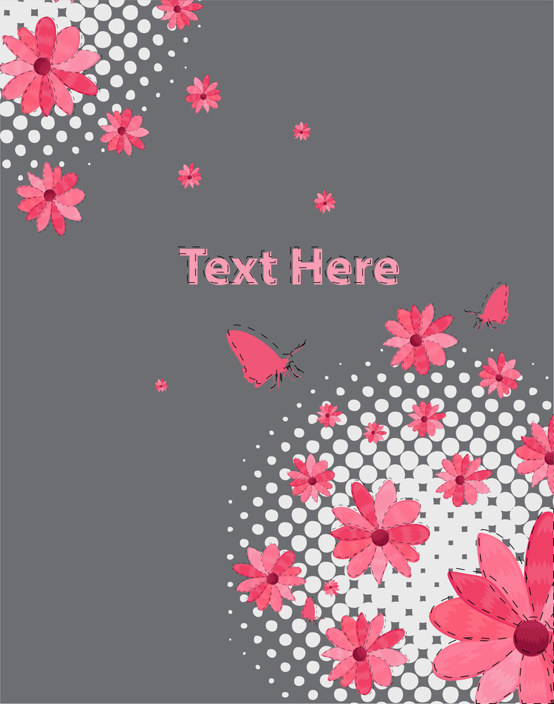 Flowers With Butterflies Background