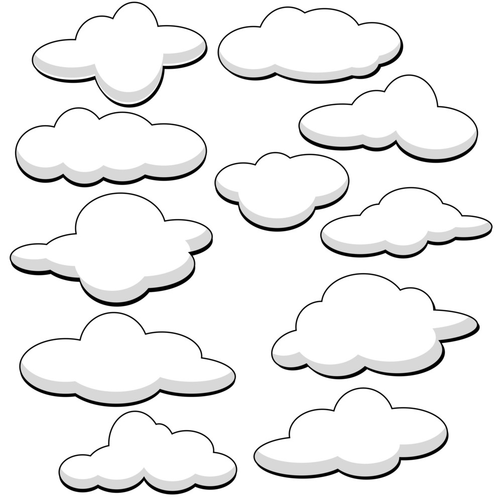 Fluffy Clouds Vector Illustration Royalty-Free Stock Image