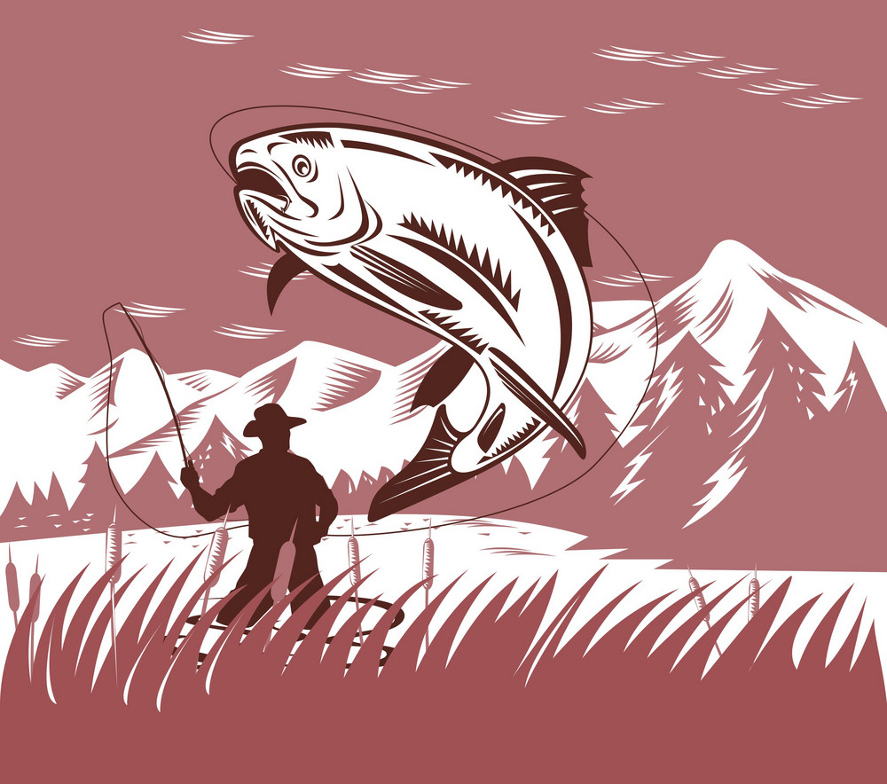Fly Fisherman Catching Jumping Trout