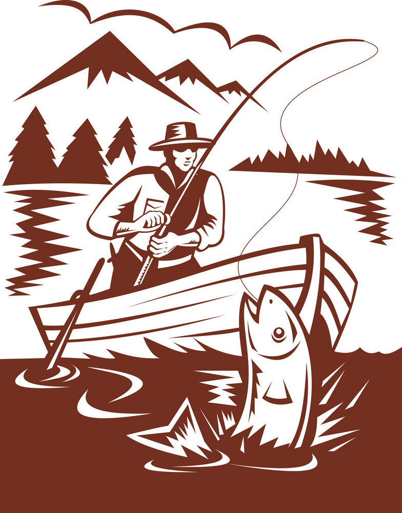 Fly Fisherman Catching Trout On Boat