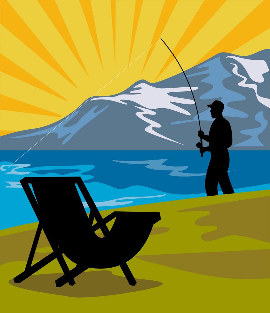 Fly Fisherman Fishing Lake Mountains Chair