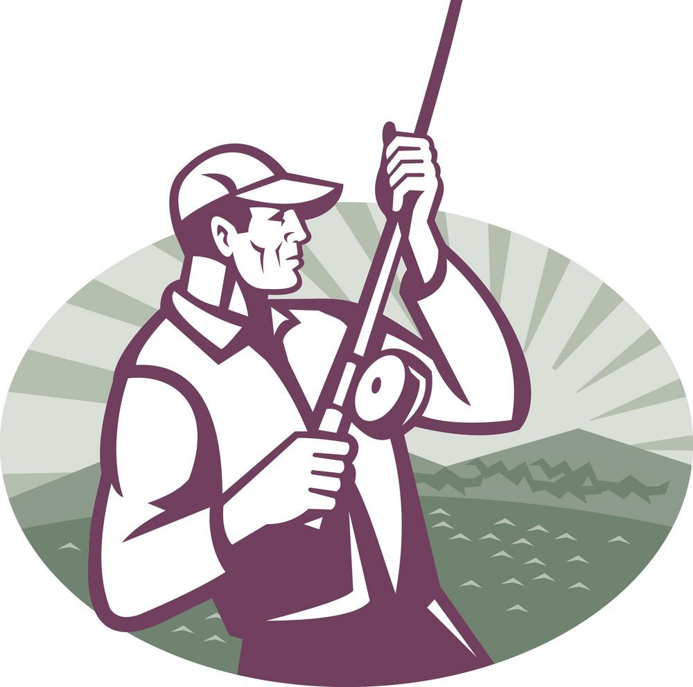 Fly Fisherman Fishing Retro Woodcut