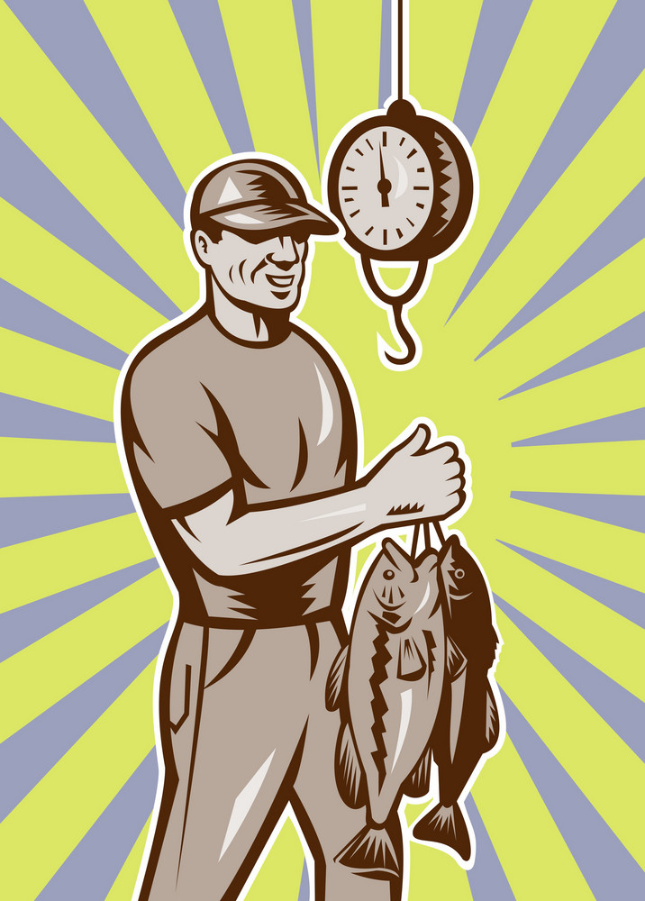 Fly Fisherman Weighing In Fish Catch