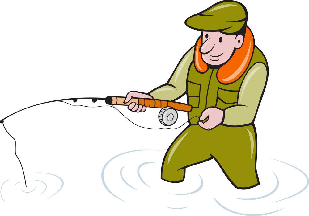 Fly Fisherman With Fishing Rod Fishing