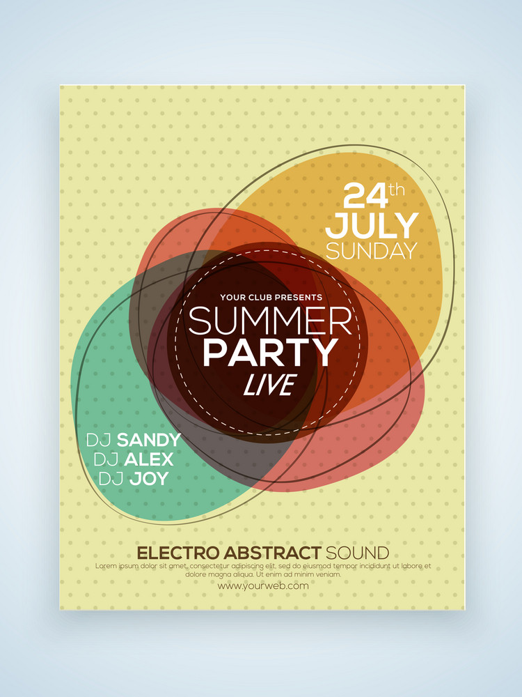 Creative stylish Summer Party celebration one page Flyer Banner or Template with date and time details.