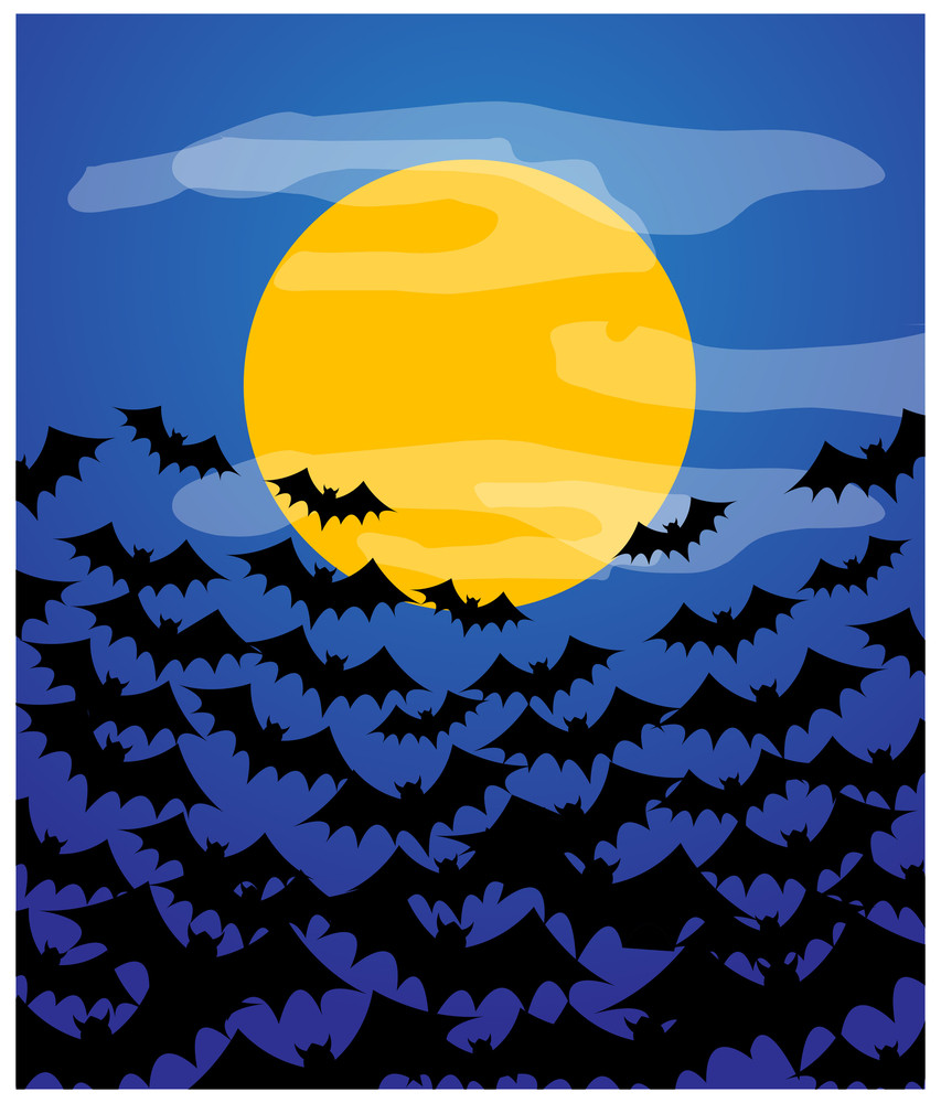 Flying Bats In Moon Light Background
