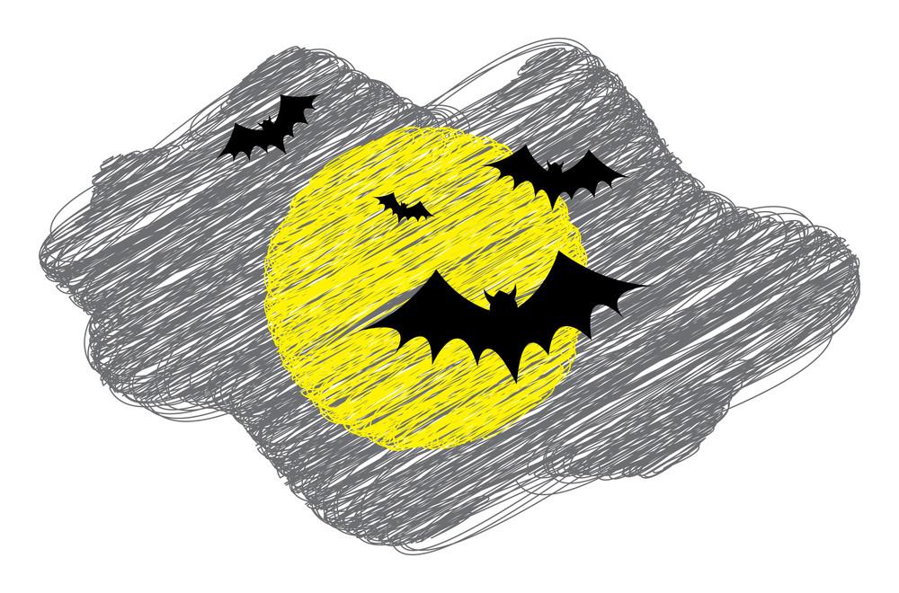 Flying Bats In Moon Light Drawing