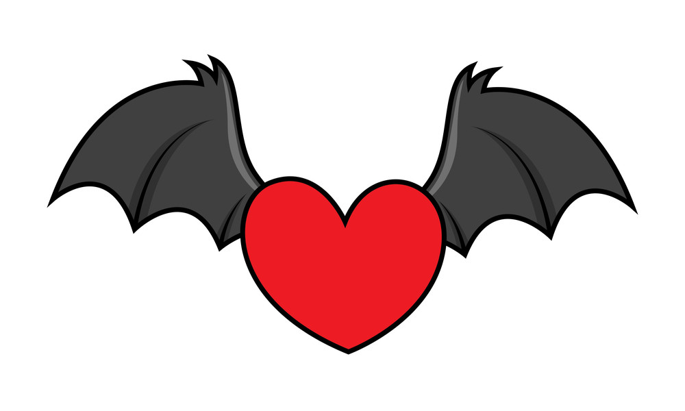 Flying Evil Heart With Bat Wings - Halloween Vector Illustration