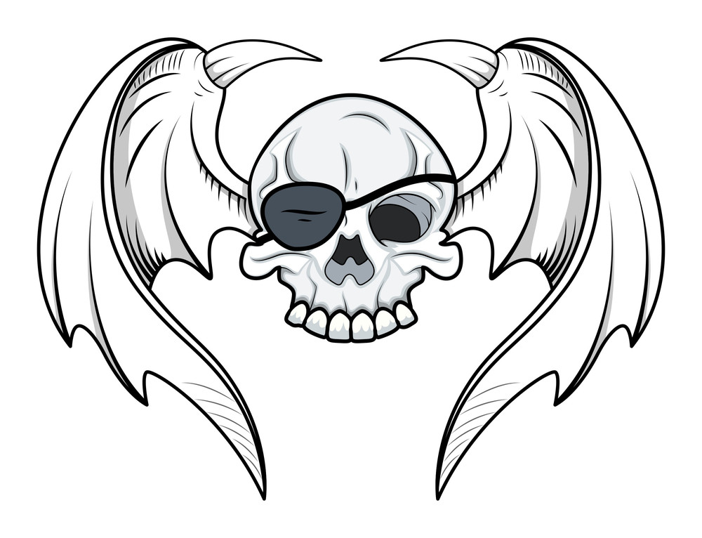 Flying Eye Patch Skull - Vector Cartoon Illustration