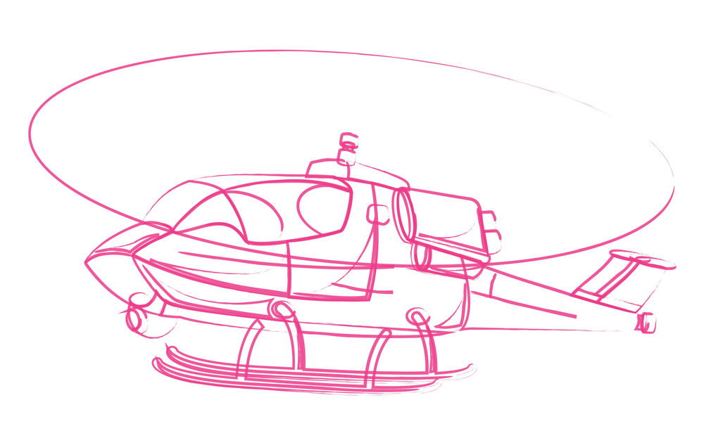 Flying Helicopter Drawing