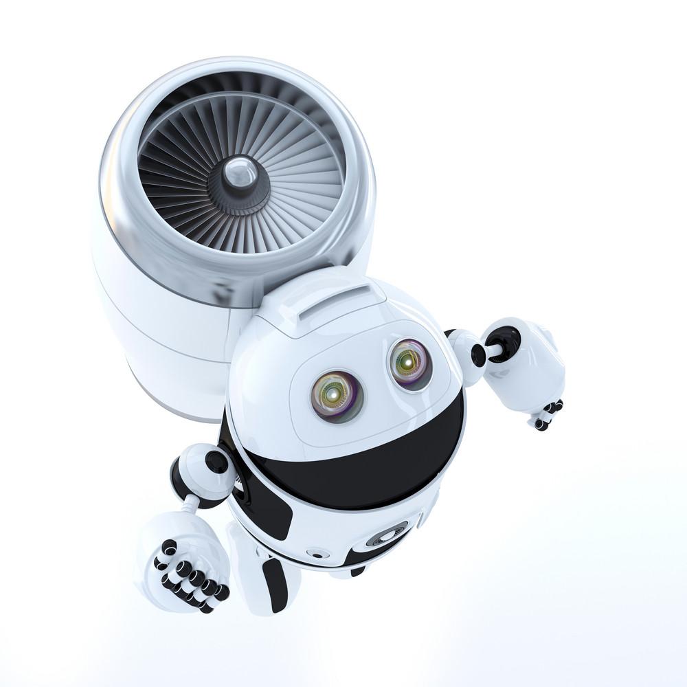 Flying Hero Robot. Technology Concept