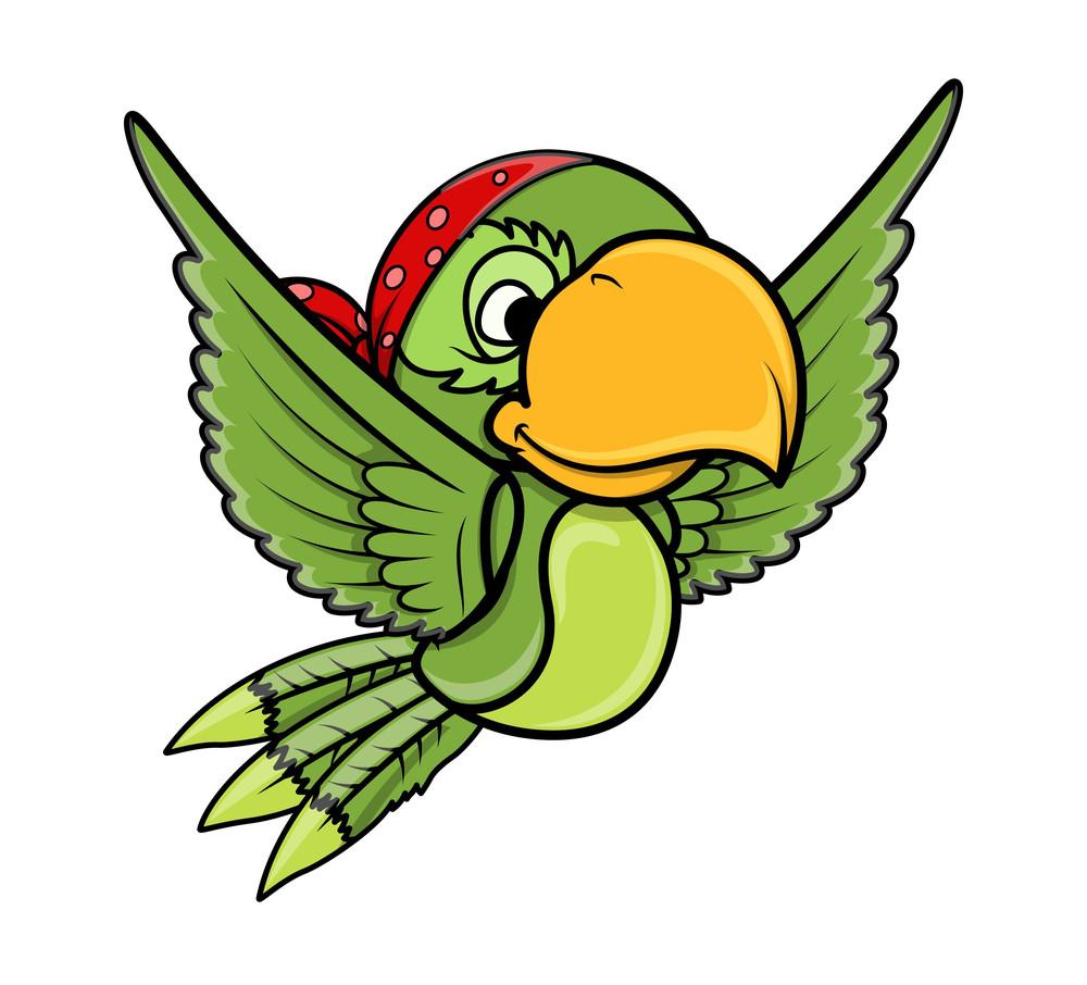 Flying Parrot - Vector Cartoon Illustration