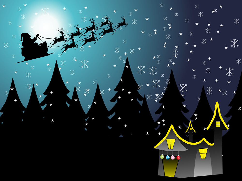 Flying Santa Sledge, Blue Vector Illustration