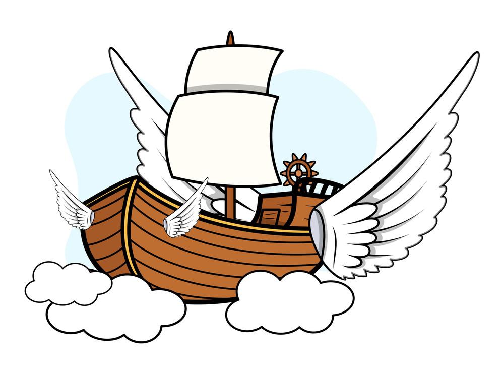 Flying Ship - Vector Cartoon Illustration