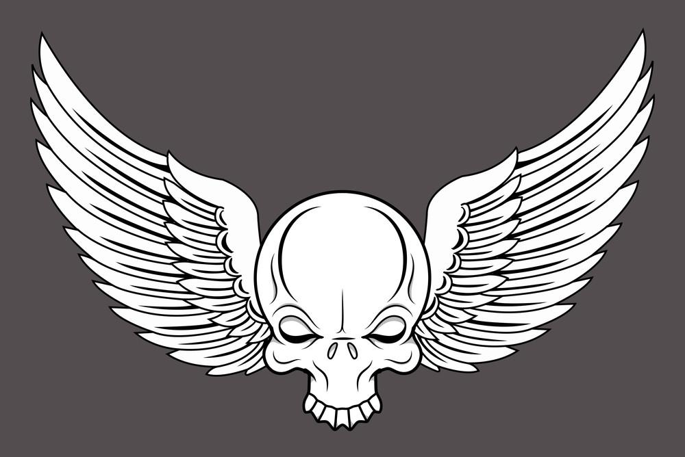 Flying Skull - Vector Cartoon Illustration