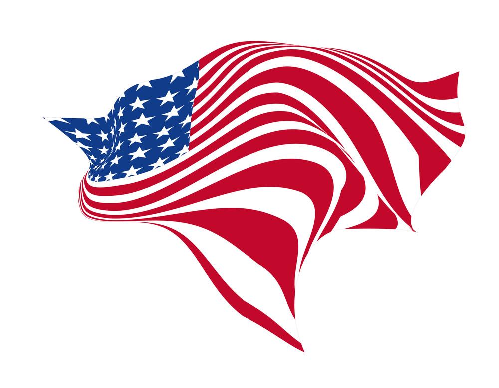 Flying Usa Flag Wave