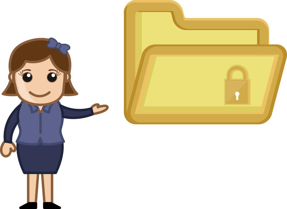 Folder Security Concept - Vector Character Cartoon Illustration