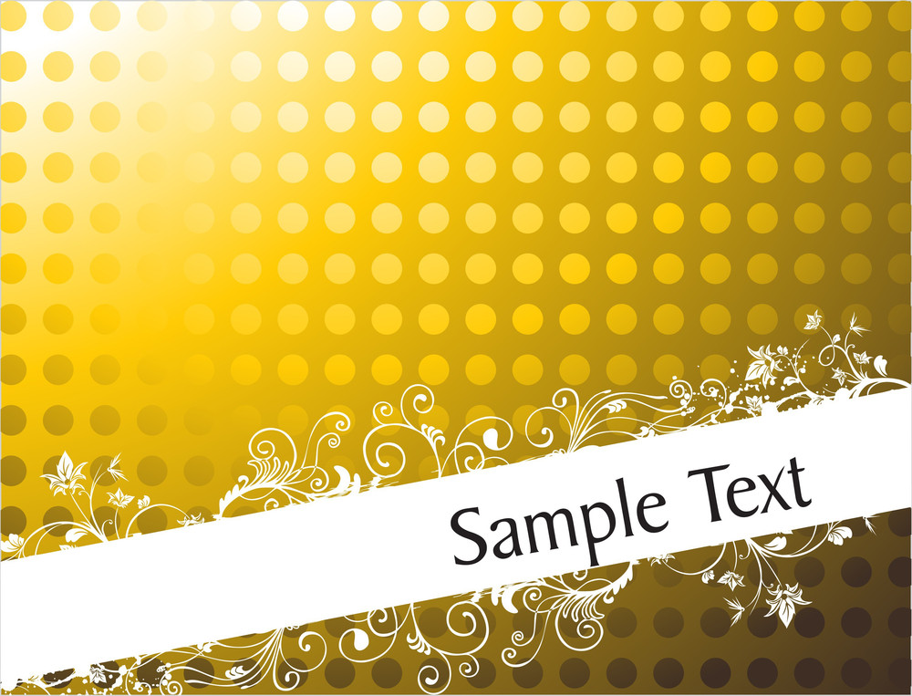 Foliage And Swirls Design For Sample Text In Gradient Golden