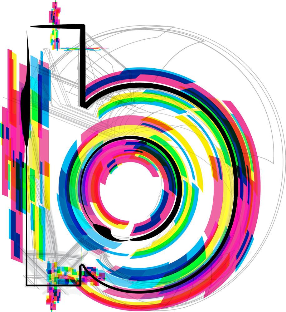 Font Illustration. Letter B. Vector Illustration