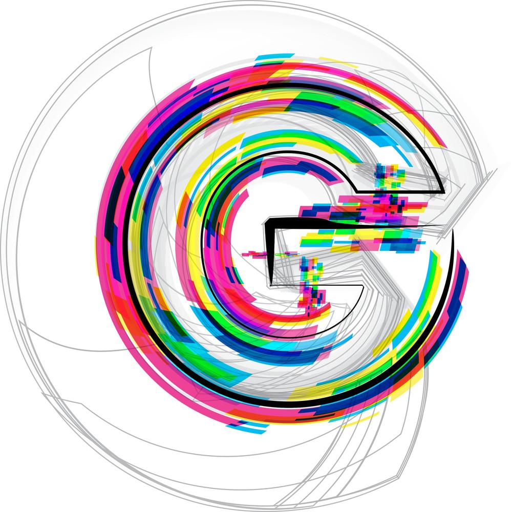 Font Illustration. Letter G. Vector Illustration