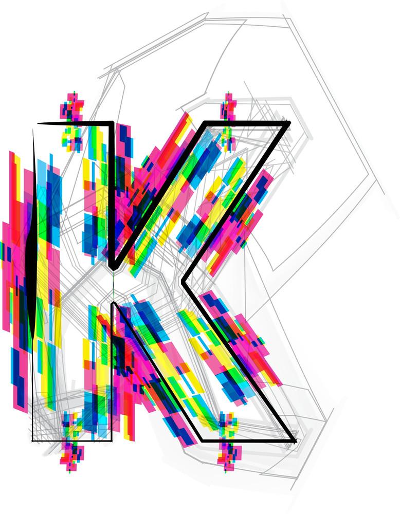 Font Illustration. Letter K. Vector Illustration