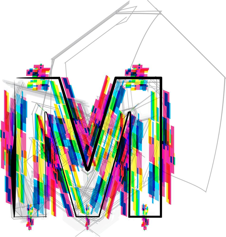 Font Illustration. Letter M. Vector Illustration