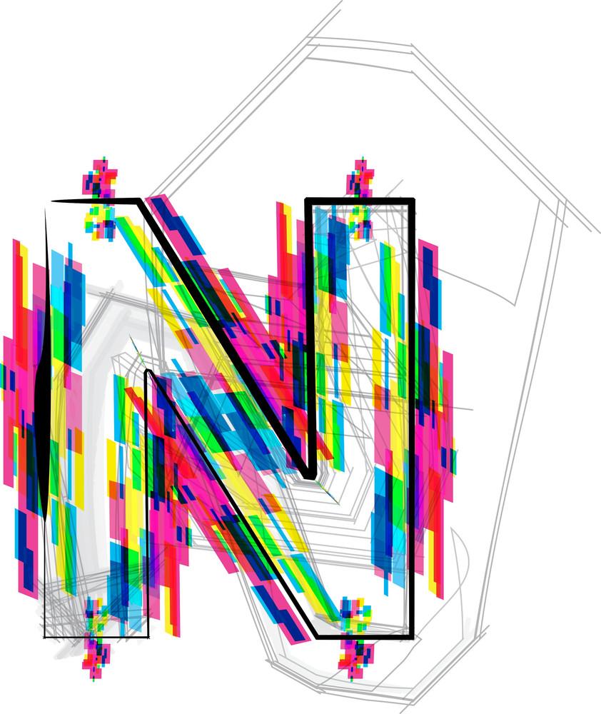 Font Illustration. Letter N. Vector Illustration