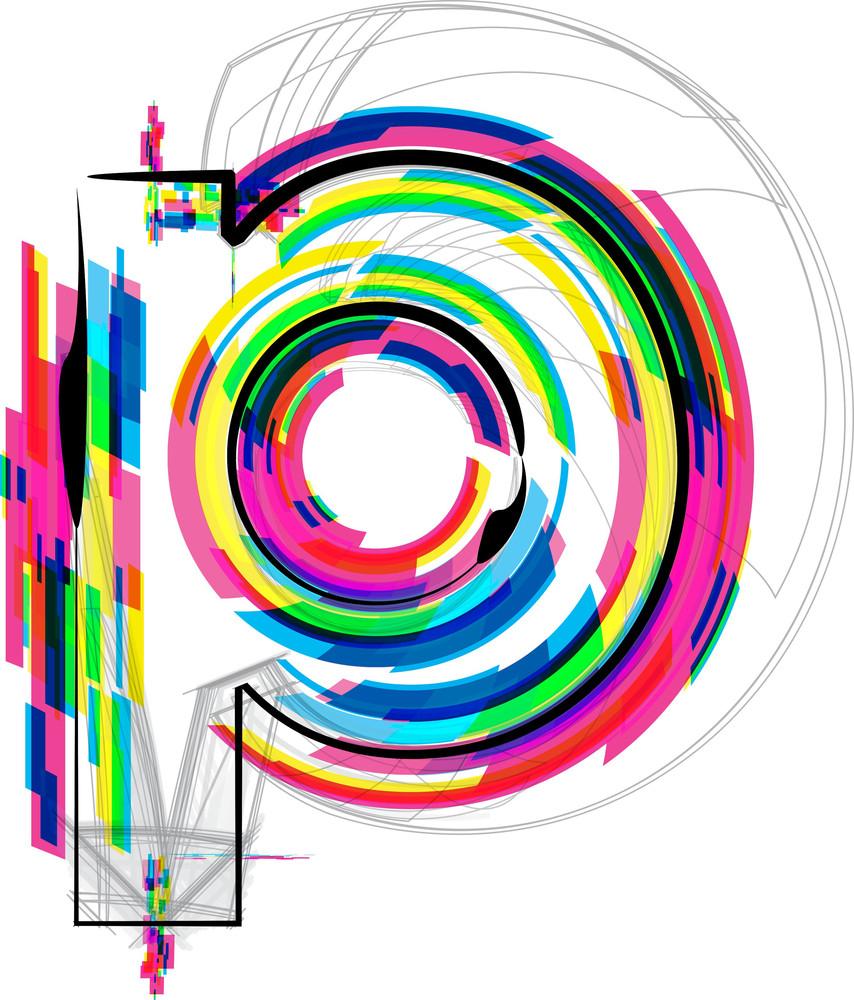 Font Illustration. Letter P. Vector Illustration