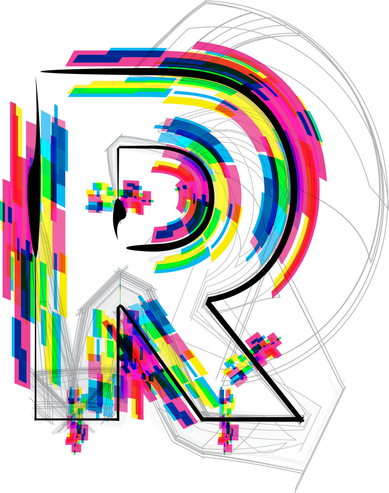 Font Illustration. Letter R. Vector Illustration