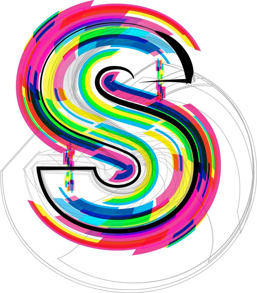 Font Illustration. Letter S. Vector Illustration