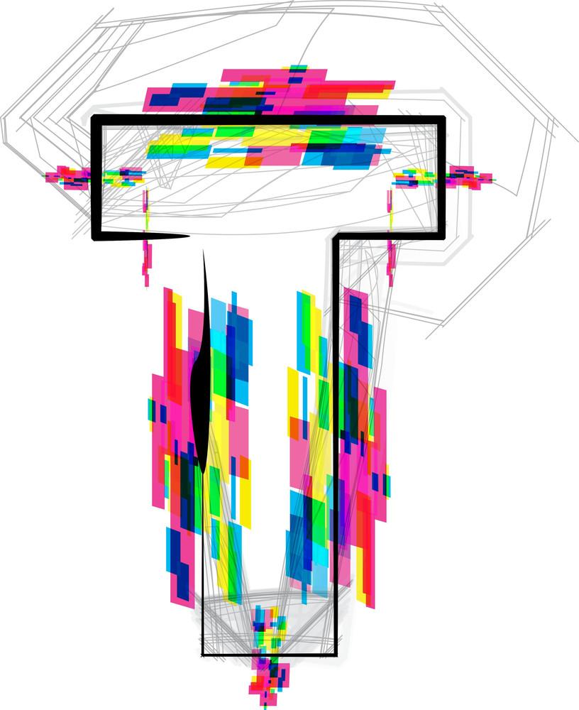 Font Illustration. Letter T. Vector Illustration