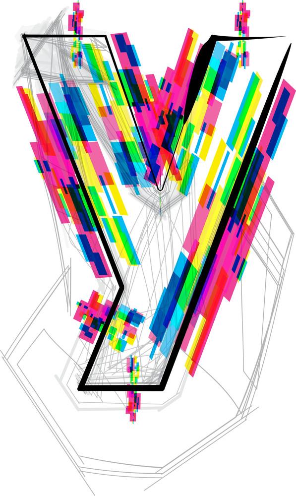 Font Illustration. Letter Y. Vector Illustration