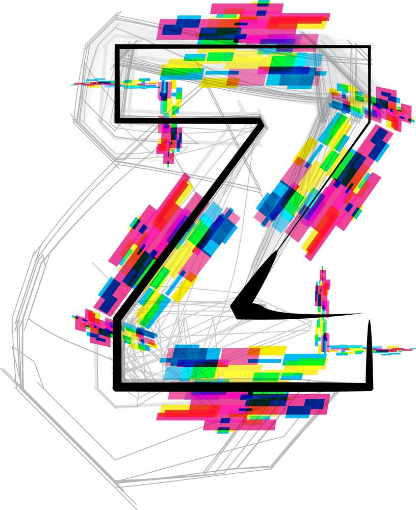 Font Illustration. Letter Z. Vector Illustration