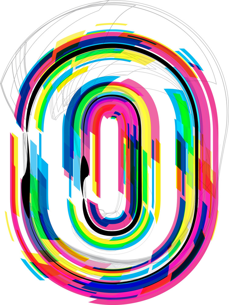 Font Illustration. Number 0. Vector Illustration