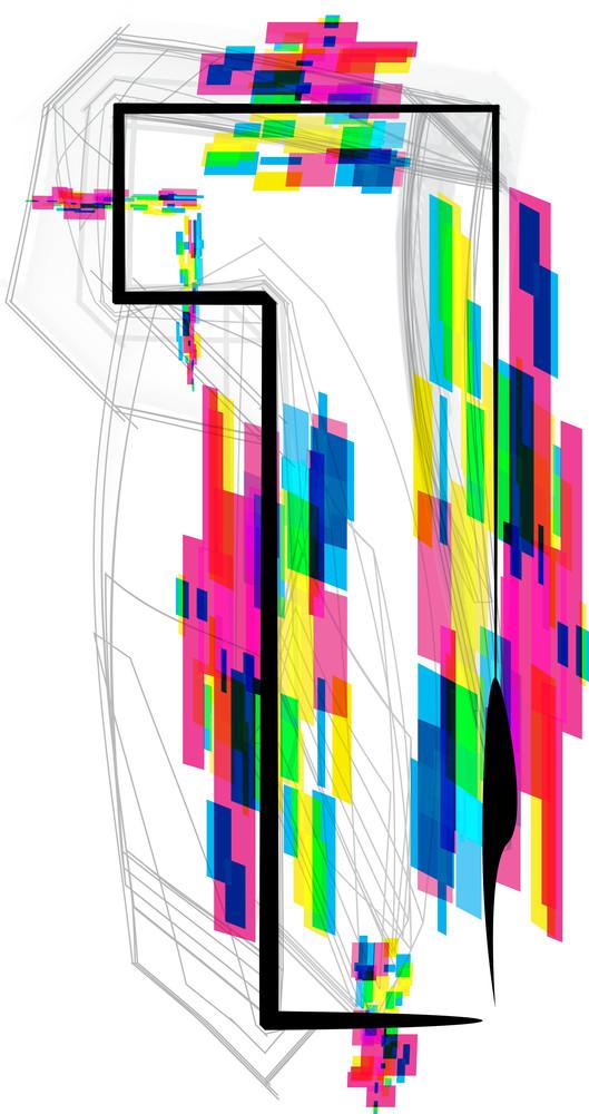 Font Illustration. Number 1. Vector Illustration
