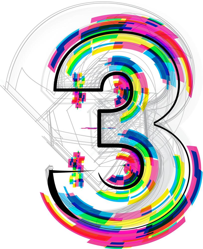 Font Illustration. Number 3. Vector Illustration