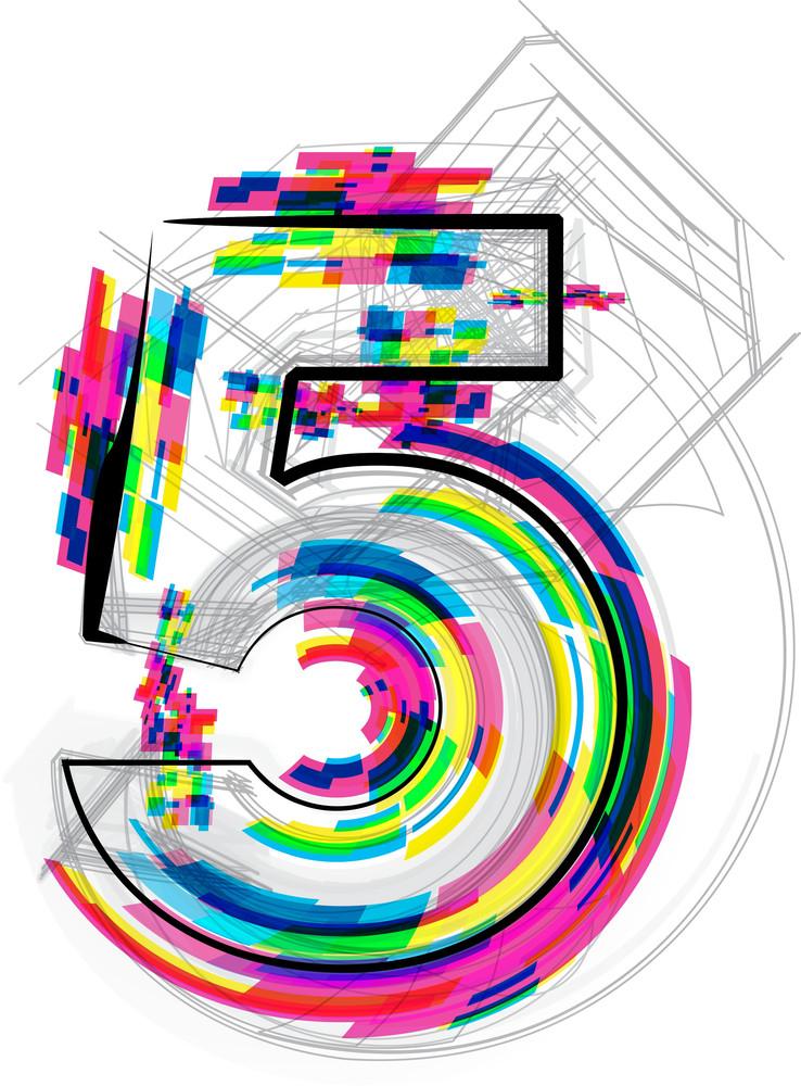 Font Illustration. Number 5. Vector Illustration