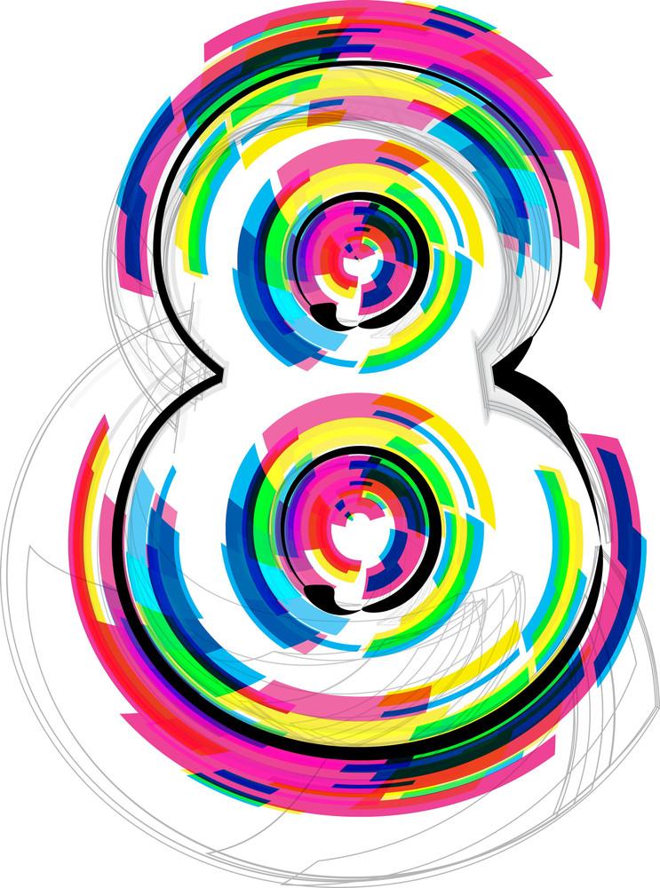 Font Illustration. Number 8. Vector Illustration