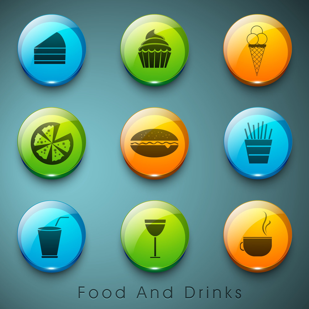 Food And Drink Icons Set.