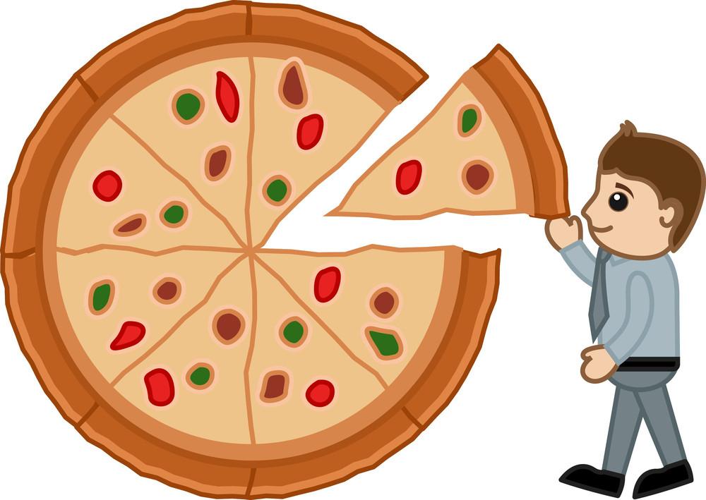 Food Diet Balance - Pizza - Cartoon Business Vector Character