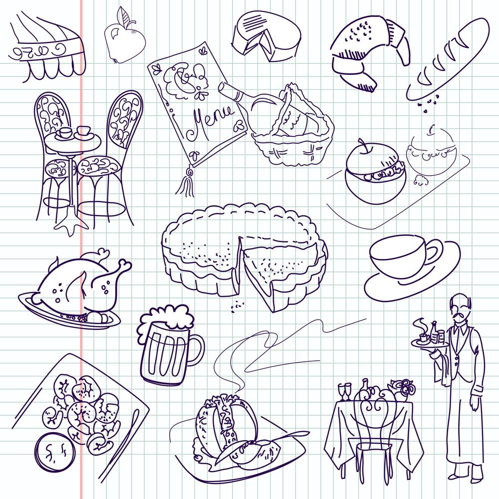 Food Doodles Elegant Cuisine Royalty Free Stock Image