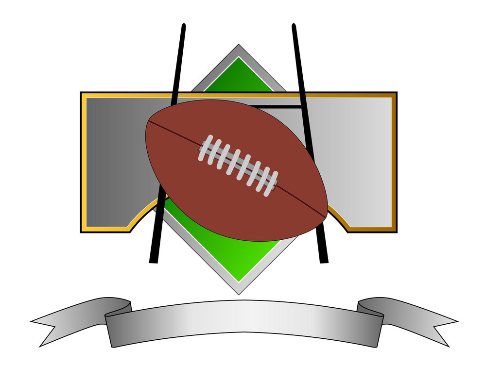 Football And Goal Post On Metal Crest