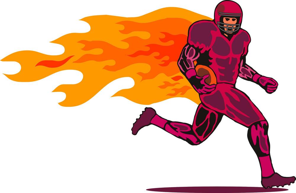 Football Player Running Flames
