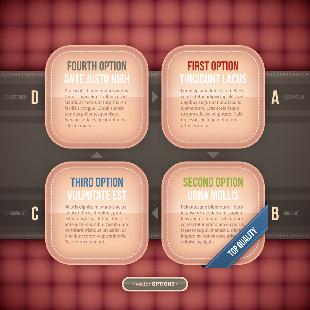 Four Square Vector Options. Eps10.