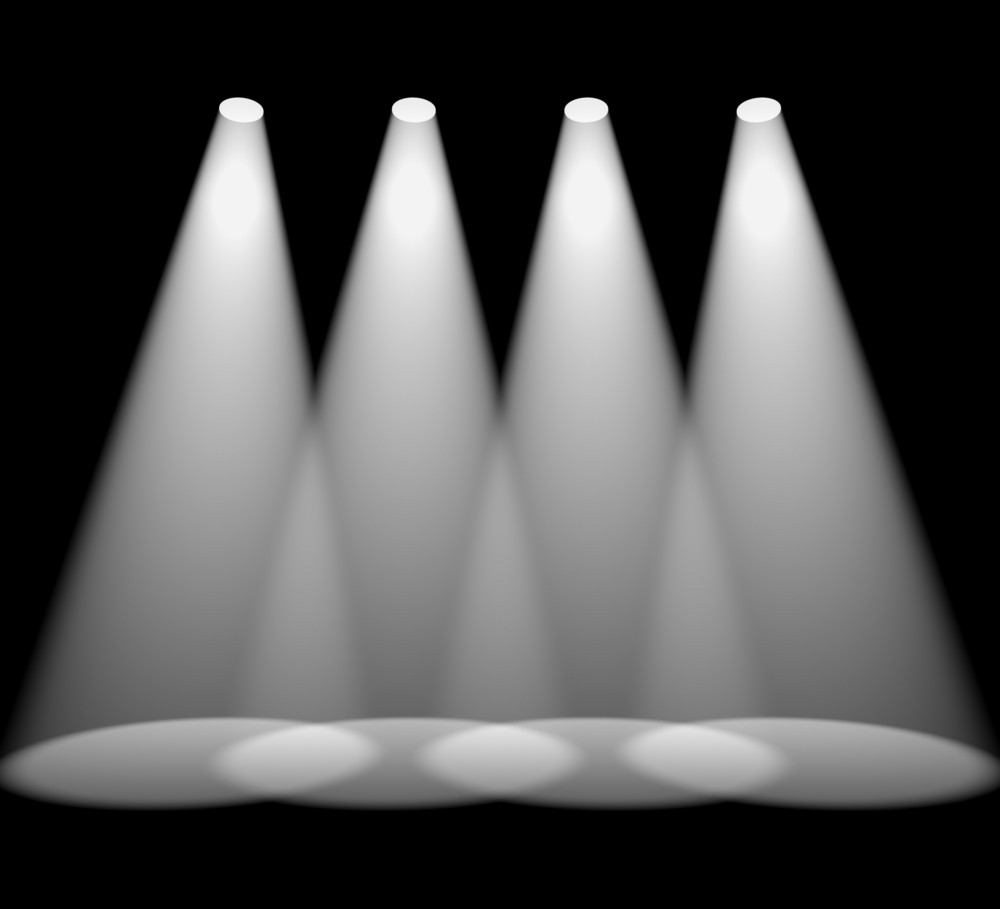Four White Spotlights In A Row On Black For Highlighting Products